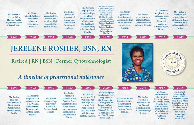 Jerelene Rosher Professional Milestones
