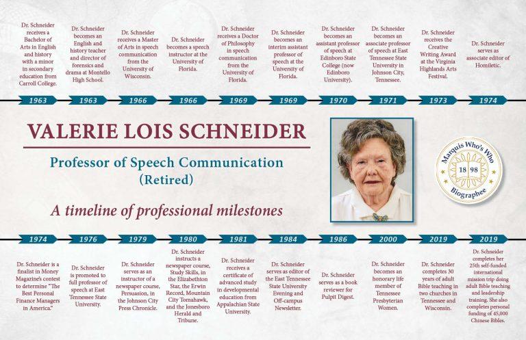 Valerie Schneider Professional Milestones