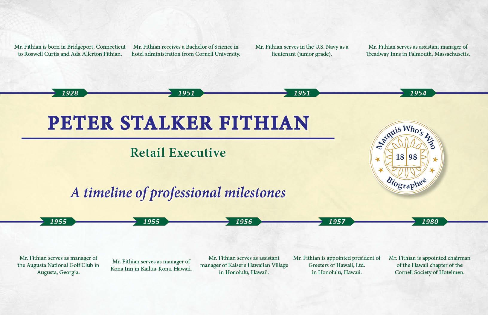 Peter Fithian Professional Milestones