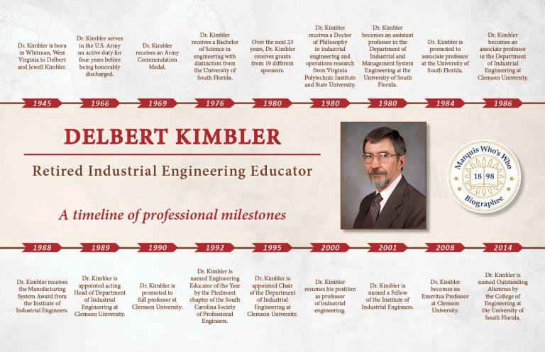 Delbert Kimbler Professional Milestones
