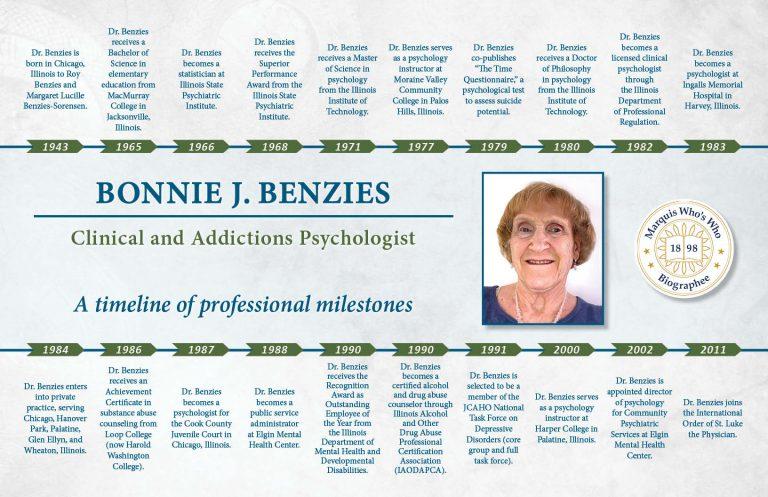 Bonnie Benzies Professional Milestones