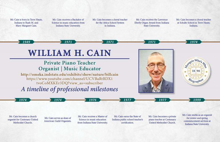 William Cain Professional Milestones