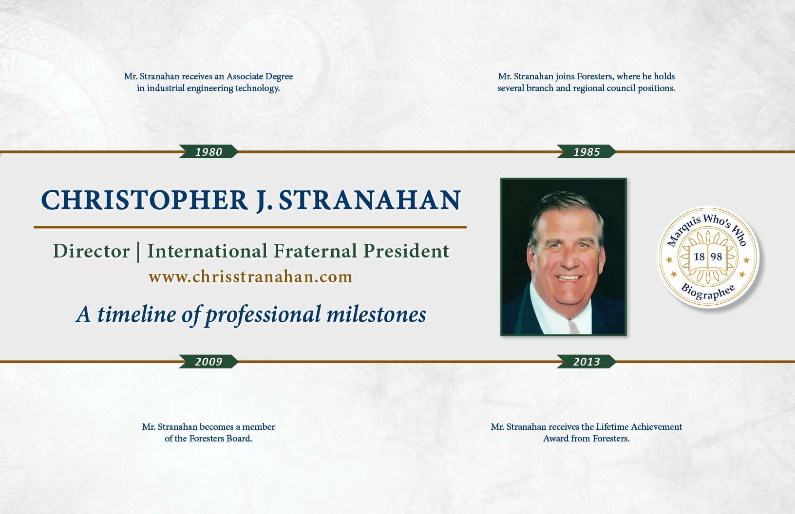 Christopher Stranahan Professional Milestones