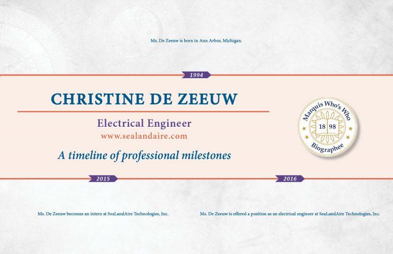 Christine DeZeeuw Professional Milestones