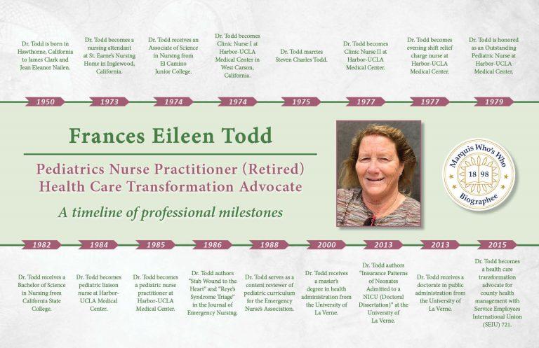 Frances Todd Professional Milestones
