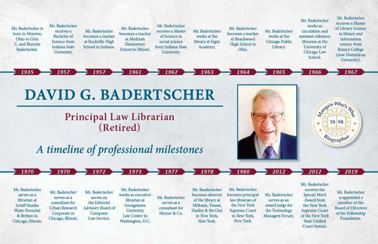 David Badertscher Professional Milestones