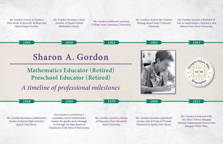 Sharon Gordon Professional Milestones